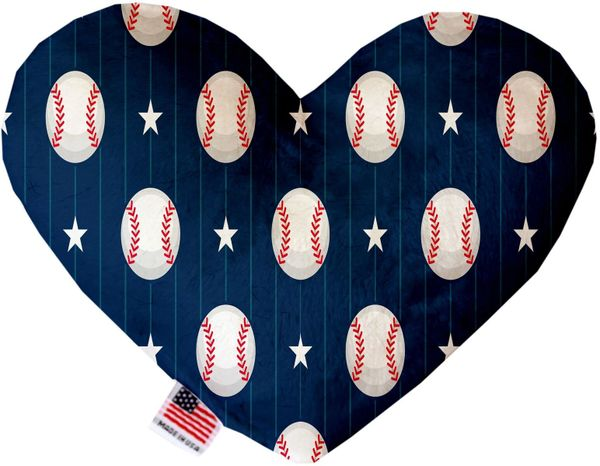 PET TOYS: Soft Velvety Fabric, Canvas, or Stuffing Free Heart Shape Pet Toy BASEBALL PINSTRIPES in Two Sizes