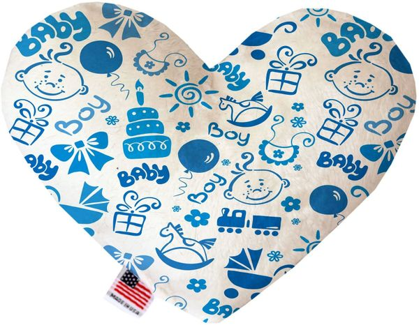 PET TOYS: Soft Velvety Fabric or Canvas Heart Shape Pet Toy BABY BOY in Two Sizes Made in USA by MiragePetProducts