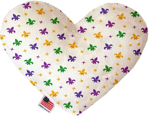 PET TOYS: Soft Velvety Fabric, Canvas, or Stuffing Free Heart Shape Pet Toy CONFETTI FLEUR de LIS in Two Sizes