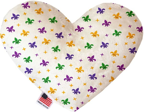 PET TOYS: Soft Velvety Fabric or Canvas Heart Shape Pet Toy CONFETTI FLEUR de LIS in Two Sizes Made in USA by MiragePetProducts