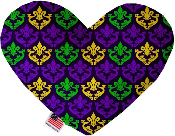PET TOYS: Soft Velvety Fabric or Canvas Heart Shape Pet Toy CLASSIC FLEUR de LIS in Two Sizes Made in USA by MiragePetProducts