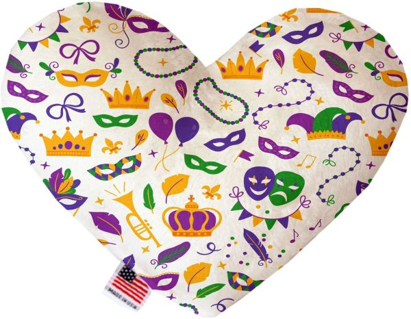 PET TOYS: Soft Velvety Fabric, Canvas, or Stuffing Free Heart Shape Pet Toy MARDI GRAS MASKS in Two Sizes