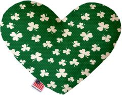 PET TOYS: Soft Velvety Fabric or Canvas Heart Shape Pet Toy SHAMROCK in Two Sizes Made in USA by MiragePetProducts