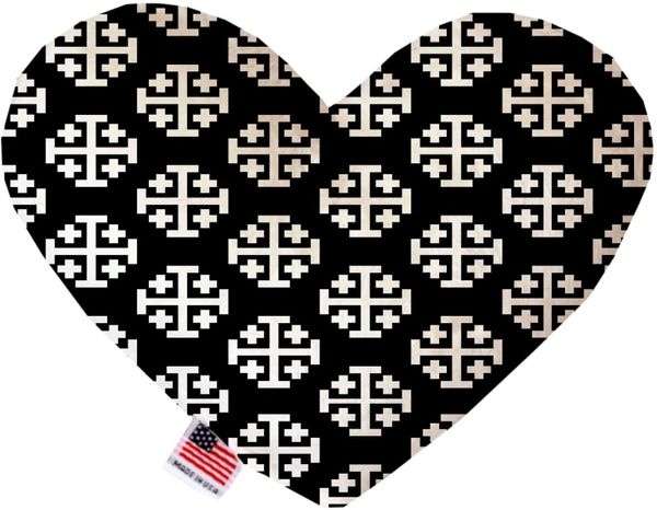 PET TOYS: Soft Velvety Fabric, Canvas, or Stuffing Free Heart Shape Pet Toy JERUSALEM CROSS in Two Sizes