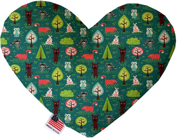 PET TOYS: Soft Velvety Fabric, Canvas, or Stuffing Free Heart Shape Pet Toy FOREST FOLLIES in Two Sizes