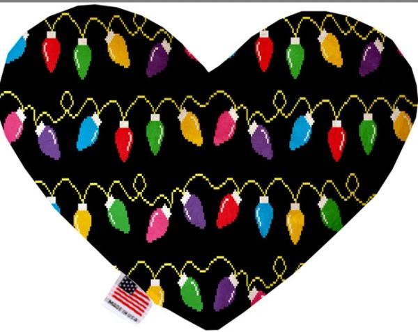 PET TOYS: Soft Velvety Fabric, Canvas, or Stuffing Free Heart Shape Pet Toy DIGITAL CHRISTMAS LIGHTS in Two Sizes