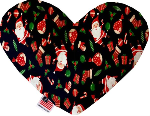 PET TOYS: Soft Velvety Fabric, Canvas, or Stuffing Free Heart Shape Pet Toy SANTA in 4 Patterns/2 Sizes