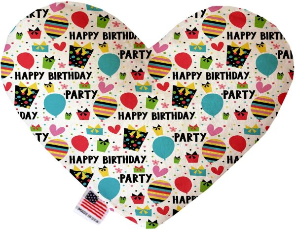 PET TOYS: Soft Velvety Fabric or Canvas Heart Shape Pet Toy HAPPY BIRTHDAY in Two Sizes Made in USA by MiragePetProducts