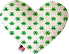 PET TOYS: Soft Velvety Fabric or Canvas Heart Shape Pet Toy - LUCKY in Two Patterns/Two Sizes Made in USA by MiragePetProducts