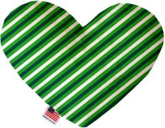 PET TOYS: Soft Velvety Fabric or Canvas Heart Shape Pet Toy - ST. PATRICK'S STRIPES in Two Sizes Made in USA by MiragePetProducts