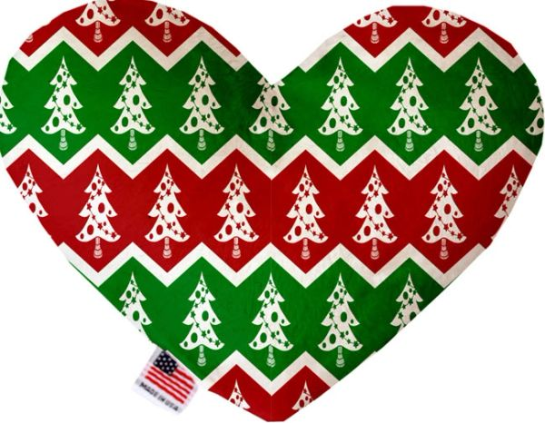 PET TOYS: Soft Velvety Fabric, Canvas, or Stuffing Free Heart Shape Pet Toy - CHRISTMAS TREES in 3 Patterns/2 Sizes