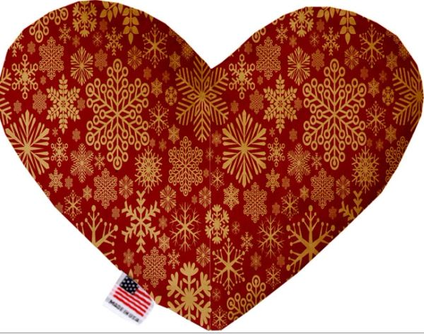 PET TOYS: Soft Velvety Fabric, Canvas, or Stuffing Free Heart Shape Pet Toy SNOWFLAKES in 7 Patterns/2 Sizes
