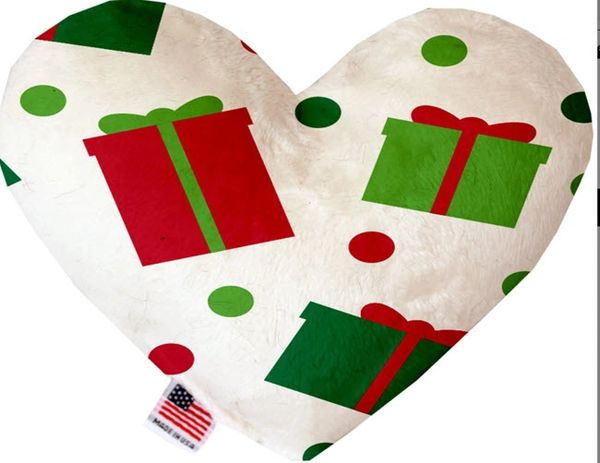 PET TOYS: Soft Velvety Fabric, Canvas, or Stuffing Free Heart Shape Pet Toy - ALL THE PRESENTS in 2 Sizes