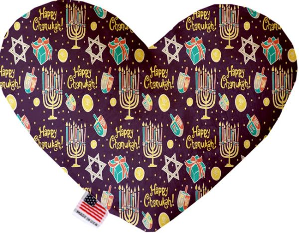 PET TOYS: Soft Velvety Fabric, Canvas, or Stuffing Free Heart Shape Pet Toy - HAPPY CHANUKAH in 2 Sizes