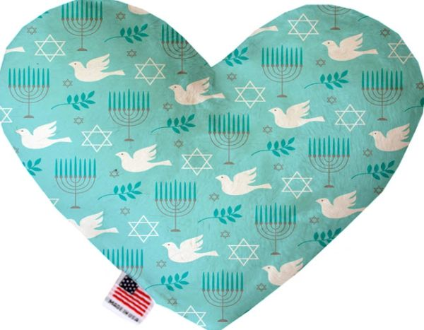 PET TOYS: Soft Velvety Fabric, Canvas, or Stuffing Free Heart Shape Pet Toy - PEACE & HANUKKAH in 2 Sizes
