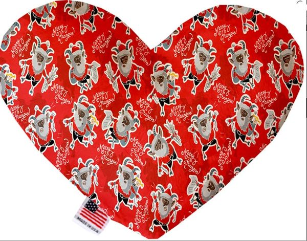 PET TOYS: Soft Velvety Fabric, Canvas, or Stuffing Free Heart Shape Pet Toy - KRAMPUS in 2 Sizes