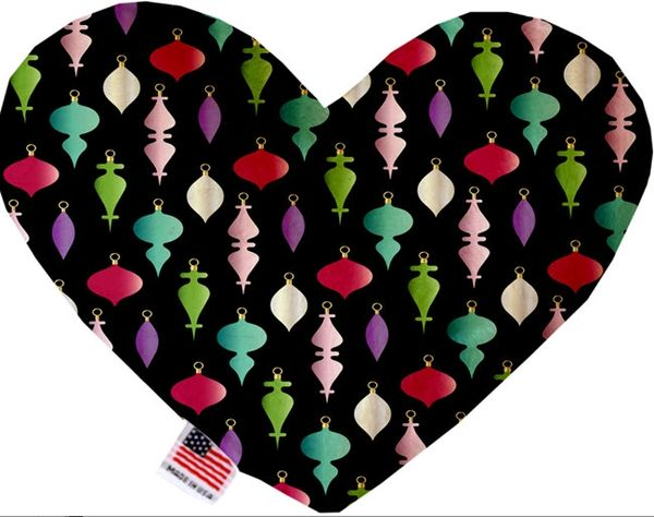 PET TOYS: Soft Velvety Fabric, Canvas, Stuffing Free Heart Shape Pet Toy - ORNAMENTS in 2 Patterns/2 Sizes