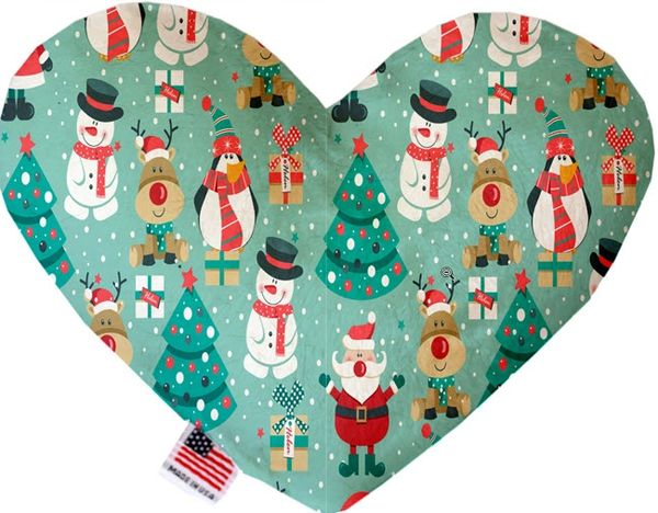 PET TOYS: Soft Velvety Fabric, Canvas or Stuffing Free Heart Shape Pet Toy - FROSTY in 2 Patterns/2 Sizes