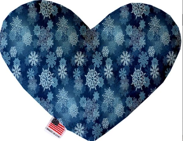 PET TOYS: Soft Velvety Fabric, Canvas, or Stuffing Free Heart Shape Pet Toy - WINTER WONDERLAND in 2 Sizes