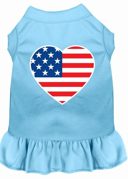 DOG DRESSES: Screen Print Dress AMERICAN FLAG Poly/Cotton with Ruffle trim in Various Sizes & Colors