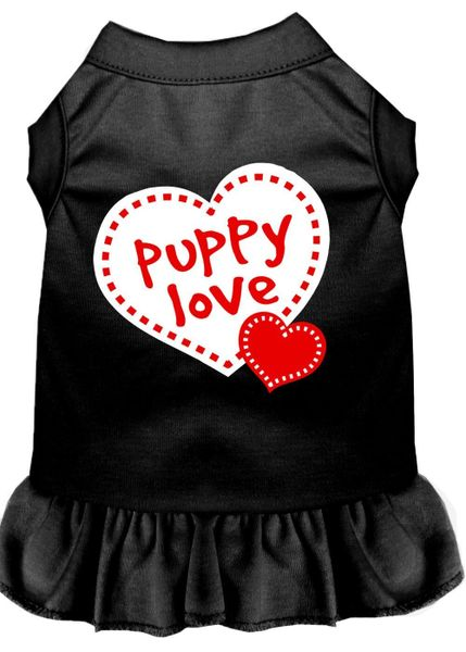 DOG DRESSES: Screen Print Dress PUPPY LOVE Poly/Cotton with Ruffle trim in Various Sizes & Colors