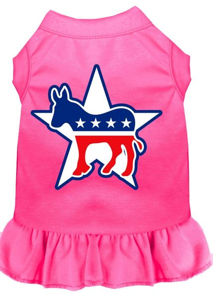 DOG DRESSES: Screen Print Dress DEMOCRAT Poly/Cotton with Ruffle Trim in Various Sizes & Colors