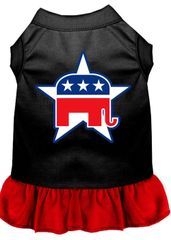 DOG DRESSES: Screen Print Dress REPUBLICAN Poly/Cotton with Ruffle trim Various sizes & Colors by MiragePetProducts