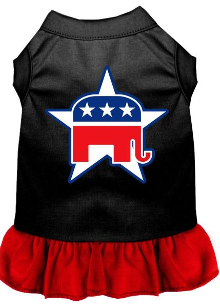 DOG DRESSES: Screen Print Dress REPUBLICAN Poly/Cotton with Ruffle trim in Various Sizes & Colors