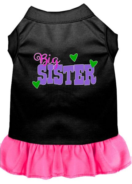 DOG DRESSES: Screen Print Dress BIG SISTER Poly/Cotton with Ruffle trim in Various Sizes & Colors
