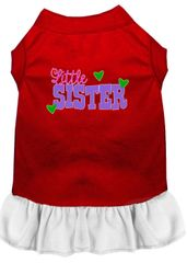 DOG DRESSES: Screen Print Dress LITTLE SISTER Poly/Cotton with Ruffle trim Various sizes & Colors by MiragePetProducts