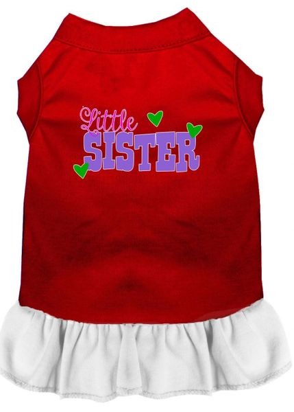 DOG DRESSES: Screen Print Dress LITTLE SISTER Poly/Cotton with Ruffle trim in Various Sizes & Colors