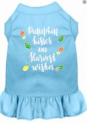DOG DRESSES: Screen Print Dress PUMKIN KISSES Poly/Cotton with Ruffle trim Various sizes & Colors by MiragePetProducts
