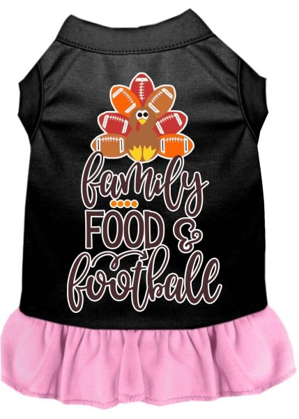 DOG DRESSES: Screen Print Dress FAMILY, FOOD, FOOTBALL Poly/Cotton with Ruffle trim in Various Sizes & Colors