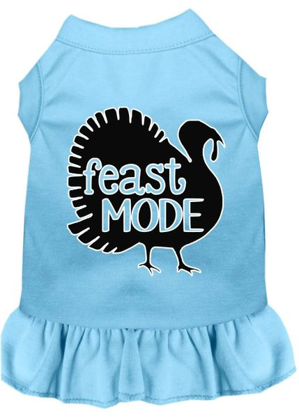DOG DRESSES: Screen Print Dress FEAST MODE Poly/Cotton with Ruffle trim in Various Sizes & Colors