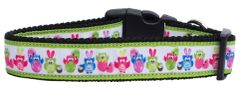 Nylon Dog Collars: EASTER BIRDIES Nylon Ribbon Dog Collar Made in USA - Matching Leash Sold Separately