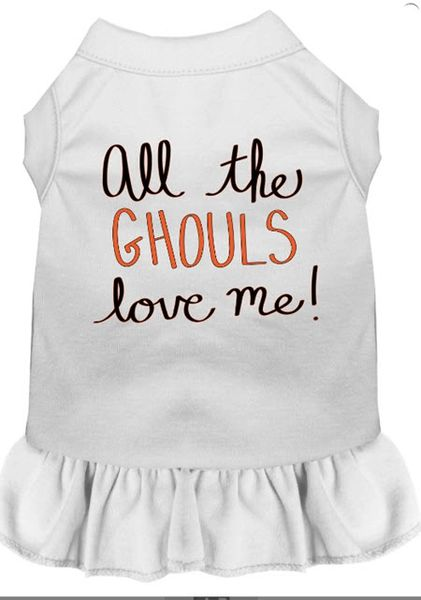 DOG DRESSES: Screen Print Dress ALL THE GHOULS LOVE ME Poly/Cotton with Ruffle trim in Various sizes & Colors