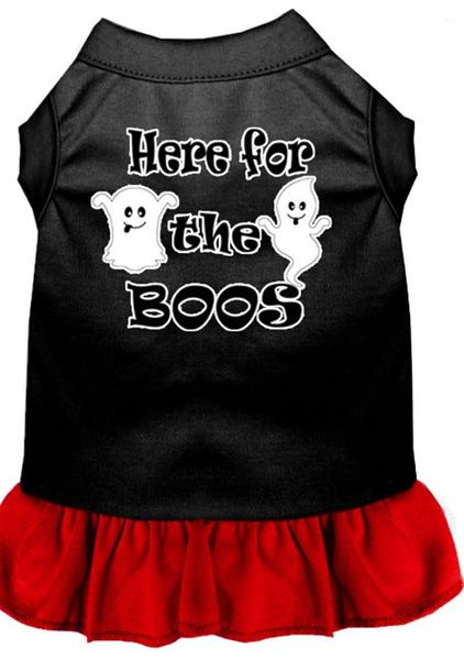 DOG DRESSES: Screen Print Dress HERE FOR THE BOOS Poly/Cotton with Ruffle trim in Various sizes & Colors