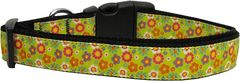 Dog Collars: Nylon Ribbon Dog Collar LIME SPRING FLOWERS by Mirage Pet Products - Matching Leash Sold Separately