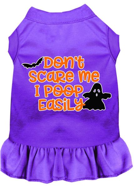 DOG DRESSES: Screen Print Dress DON'T SCARE ME Poly/Cotton with Ruffle Trim in Various Sizes & Colors