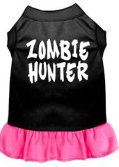 DOG DRESSES: Screen Print Dress ZOMBIE HUNTER Poly/Cotton with Ruffle Trim Various Sizes & Colors by MiragePetProducts