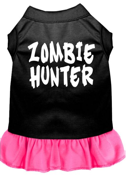DOG DRESSES: Screen Print Dress ZOMBIE HUNTER Poly/Cotton with Ruffle Trim in Various Sizes & Colors