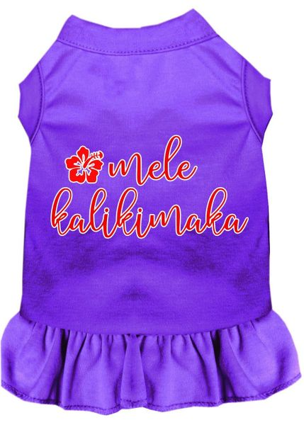 DOG DRESSES: Screen Print Dress MELE KALIKIMAKA Poly/Cotton with Ruffle Trim in Various Sizes & Colors
