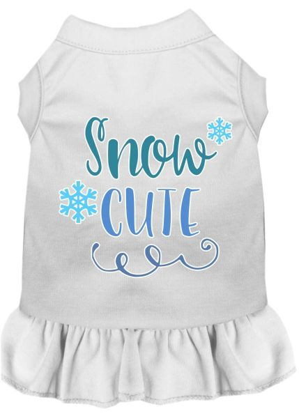 DOG DRESSES: Screen Print Dress SNOW CUTE Poly/Cotton with Ruffle Trim in Various Sizes & Colors
