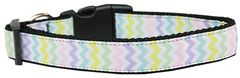 Dog Collars: Nylon Ribbon Collar SPRING CHEVRON by Mirage Pet Products USA - Matching Leash Sold Separately