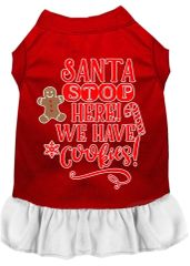 DOG DRESSES: Screen Print Dress SANTA STOP HERE WE HAVE COOKIES Poly/Cotton with Ruffle Trim Various Sizes & Colors by MiragePetProducts