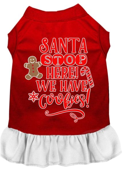 DOG DRESSES: Screen Print Dress SANTA STOP HERE WE HAVE COOKIES Poly/Cotton with Ruffle Trim in Various Sizes & Colors