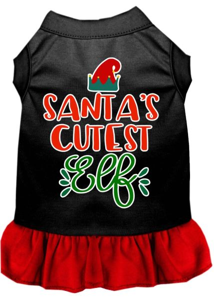 DOG DRESSES: Screen Print Dress SANTA'S CUTEST ELF Poly/Cotton with Ruffle Trim in Various Sizes & Colors