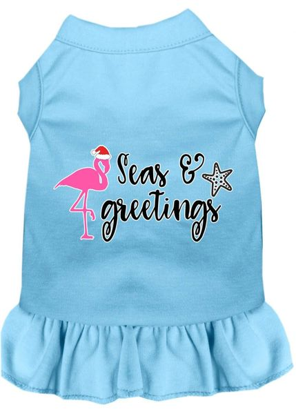 DOG DRESSES: Screen Print Dress SEAS & GREETINGS Poly/Cotton with Ruffle Trim in Various Sizes & Colors