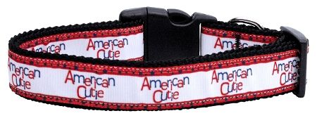 Patriotic Dog Collars: Nylon Ribbon Collar AMERICAN CUTIE by Mirage Pet Products - Matching Leash Sold Separately
