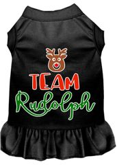 DOG DRESSES: Screen Print Dress TEAM RUDOLPH Poly/Cotton with Ruffle Trim Various Sizes & Colors by MiragePetProducts